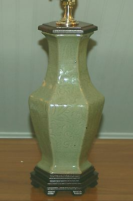 CHINESE Porcelain CELADON Green Crackle Vase LAMP Incised Embossed Molded Lotus