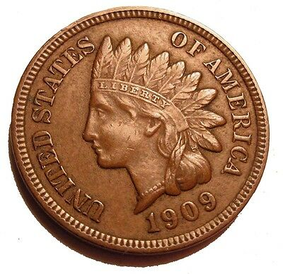 Old Us Coins 1909 Indian Head One Cent Penny Highgrade  Free Shipping Us And Ca