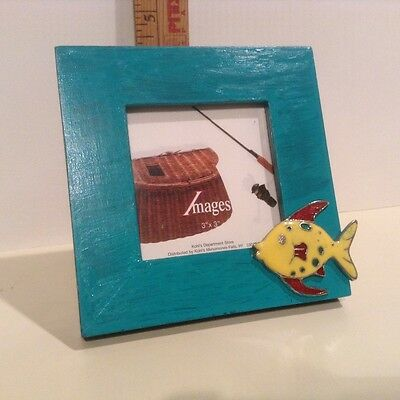 """Cute 3"""" x 3"""" Images Wooden Picture Frame with Fish"""