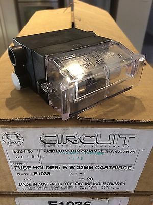 Australian Made CIRCUIT Service Fuse Holder E1038 Front Wired Aussie Stock