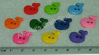 30 Whale Bright Novelty Buttons New - Great for Sewing & Many Craft Projects