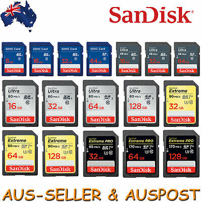 SanDisk 8GB 16GB 32GB 64GB 128GB SD Memory Card SDXC DSLR 4K Full HD SDHC Camera
