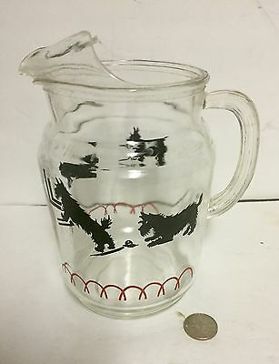 Vintage Scotty Dog Glass Pitcher Scottish Terrier Collectible