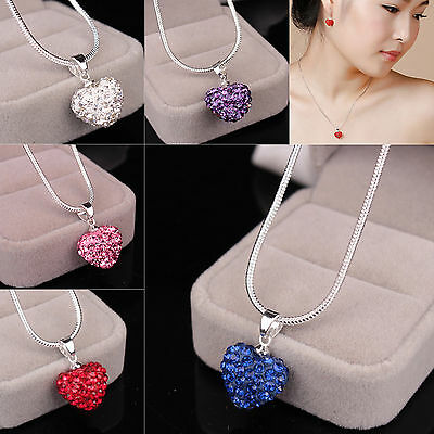 Fashion Women Pendant Jewelry Crystal Heart Sterling Silver Necklace + Chain