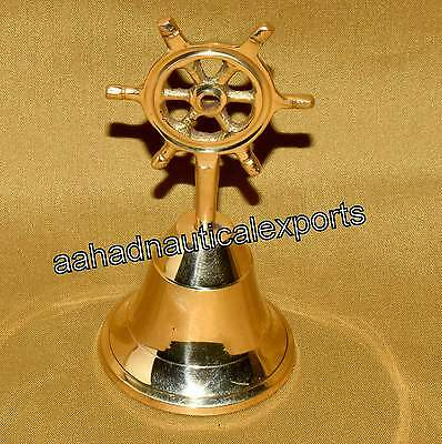 Vintage Nautical Solid Brass Bell Ship Wheel 20