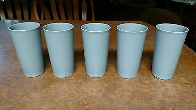 Lot of 5 TUPPERWARE 12oz Tumblers #873 Drinking Cups Country Pastel Blue