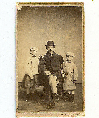 c1863 CDV of Man & Children in Coats and Hats, Janesville, Wisconsin