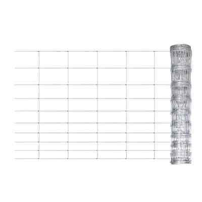 S# New Galvanized Chain Mesh Fence Post Set 1.2x50m Wire Garden Fencing Pet Chic