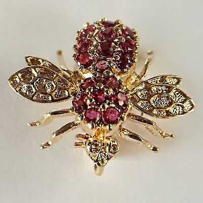 14k Gold and Ruby Bee Brooch or Pendant Herbert Rosenthal Style Pin