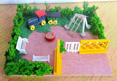 OO gauge  playground fence bush bench  scenery diorama for model train layout.