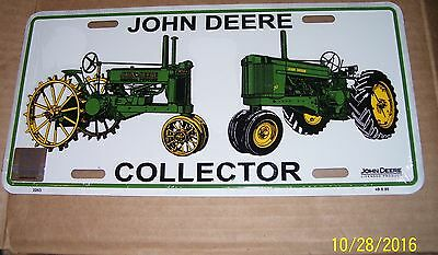 John Deere license plate, New in Sealed Plastic, Collectors Plate.