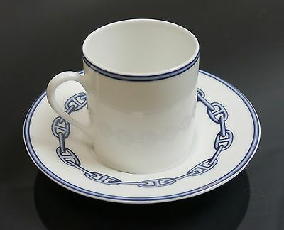 Authentic Hermes coffee cup saucer Chaine d'Ancre Blue used (T1746
