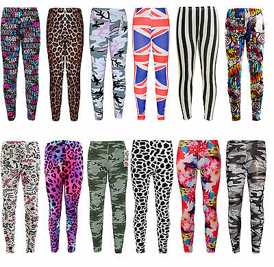Girls Camouflage Floral Leopard Legging Kids Full Length Stretchy Leggings 7-13Y
