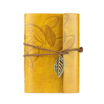 Vintage Leaf Leather Cover Loose Leaf Blank Notebook Journal Diary Gift Yellow