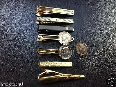 Lot Of 7 Vintage Men Tie Clip Bar Clasp Collar Jewelry Coin Mixed