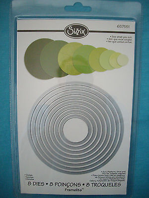Sizzix Framelits Circles Die Set - 8 Dies - Compatible with Cuttlebug & Sizzix
