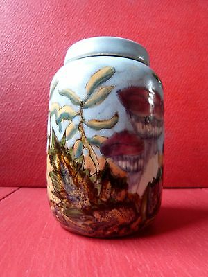 COBRIDGE Stoneware Toadstool Mushroom Leaves Ginger Jar Pot Sister to Moorcroft