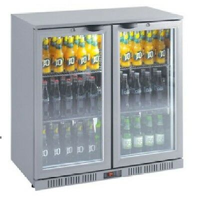Brand New Silver 208L 2 Glass Door Display Bar Fridge