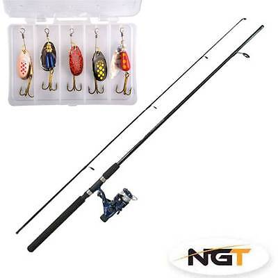 New Generation Combo 7ft Fishing Rod & Spinning Reel Combo River Lake 5 Spinners