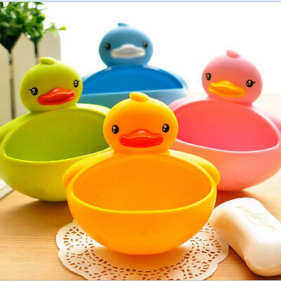 4Colors Bathroom Shower Duck Soap Dish Case Toothbrush Holder Suction Cup hcuk
