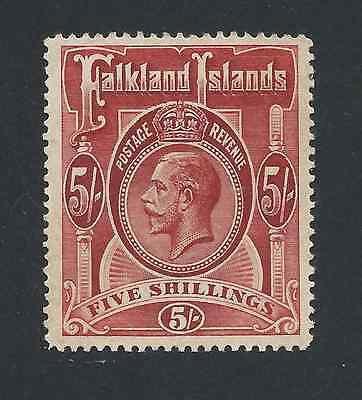 FALKLAND IS 1912-20 5s DEEP ROSE-RED MM SG 67 CAT £120