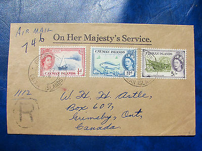 Cayman Island 1955 OHMS Reg. with 5/- , Very Fine cover