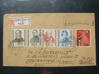 Germany 1955 Relief fund set Reg. Cover to USA