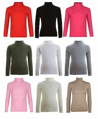 Kids Ribbed Polo Neck Top Girls Boys Long sleeve Turtle Jumper Tops New 2-13 Yrs