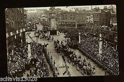 Royal Progress at St Georges Circus S. London Real Photo Postcard Antique Image