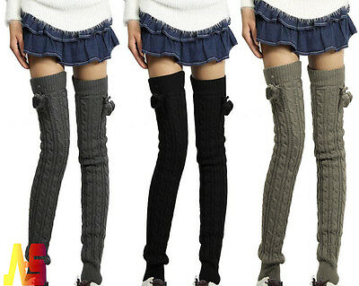 Winter Warm Women's Leg Wool Knit Long Socks Crochet Knee Legging Socks Boots