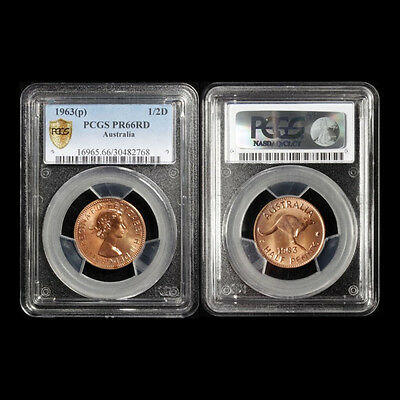 Australian 1963 P Proof QEII Half Penny High Graded PCGS PR66RD