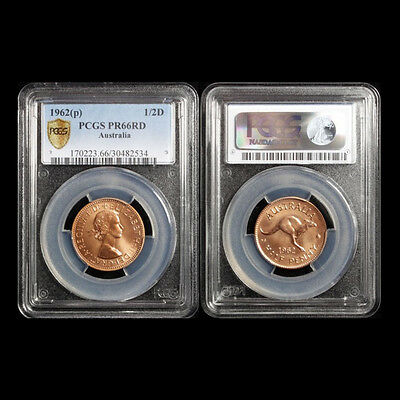 Australian 1962 P Proof QEII Half Penny High Graded PCGS PR66RD