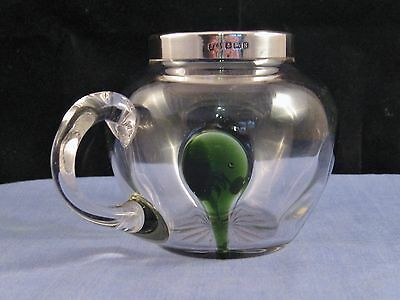 Art Deco Antique Sterling Silver & Green Glass Cream Milk Jug