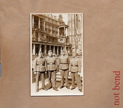 WW2 postcard German Soldiers Posing Near cologne Cathedral real photo Xc1.