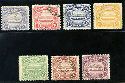 Solomon Islands 1907 KEVII Large Canoes set complete VF used. SG 1-7. Sc 1-7.