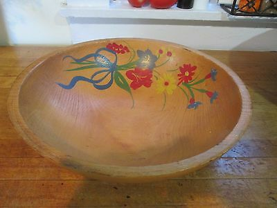Primitive Hand Painted Folk Art Wooden Country Kitchen Bowl