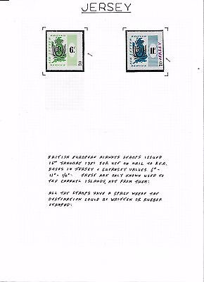 GB BRITISH AIRWAYS JERSEY LOCALS B.E.A AIRWAYS LETTER SERVICE 8 photos 25 stamps