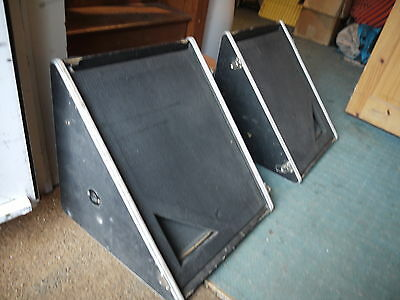 """Pair of vintage pa stage wedge speakers 60s 70s 12"""" band retro guitar monitor"""