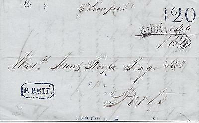 Gibraltar 1842 entire to Portugal, small framed arc despatch,  P Brit maritime