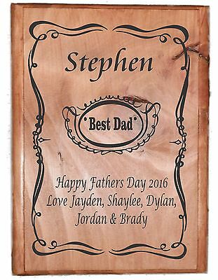 Fathers Day Plaque - Best Dad - Personalised Order Jack Daniels