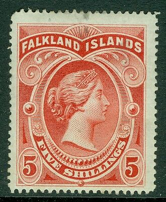 SG 42 Falkland 5/- Red lightly mounted mint, Odd tiny reverse Gum thins,