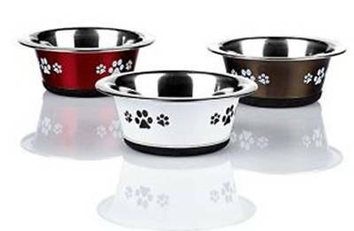 1x Stainless Steel Cat Bowl Red, White or Graphite Classic Posh Paws 115mm