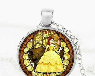 Beauty And The Beast Kingdom Of Hearts Glass Pendant Necklace In Gift Bag