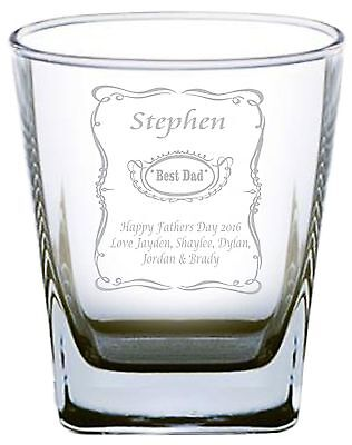 Fathers Day Engraved Glass - Best Dad - Personalised Fathers Day - Jack Daniels
