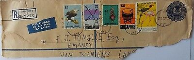 Singapore 1967 Piece From Registered Stationery Cover + $10 Drum & $5 Eagle Etc