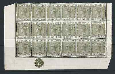 GIBRALTAR 1889-96 20c OLIVE-GREEN & BROWN PLATE 2 BLOCK OF 18 MNH SG 24 CAT £540
