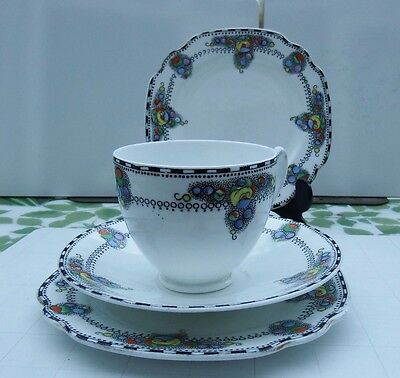 "Art Deco Royal Albion China ""carnival"" 2 Cups, 1 Saucer, 3 Plates."