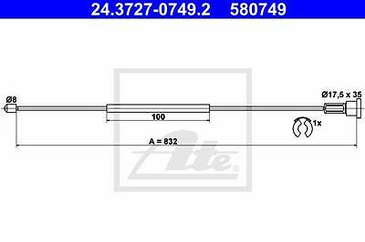 Rear Hand Brake Cable ATE 24.3727-0749.2 for Opel
