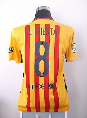 Andres INIESTA #8 Barcelona Away Football Shirt Jersey 2015/16 (M)