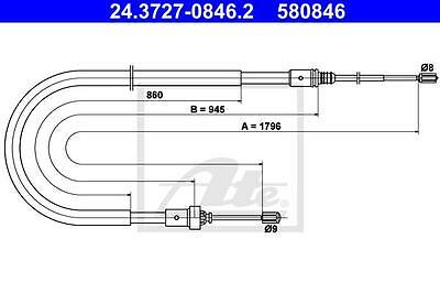 Rear Hand Brake Cable ATE 24.3727-0846.2 for Peugeot